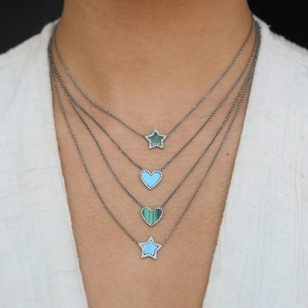 Diamond Mini Malachite Star Necklace