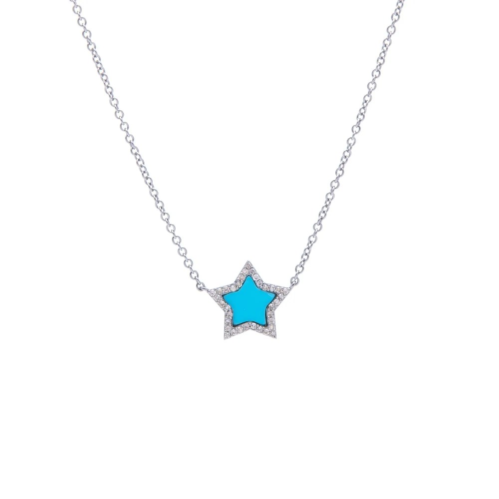 Diamond Mini Turquoise Star Necklace Sterling Silver