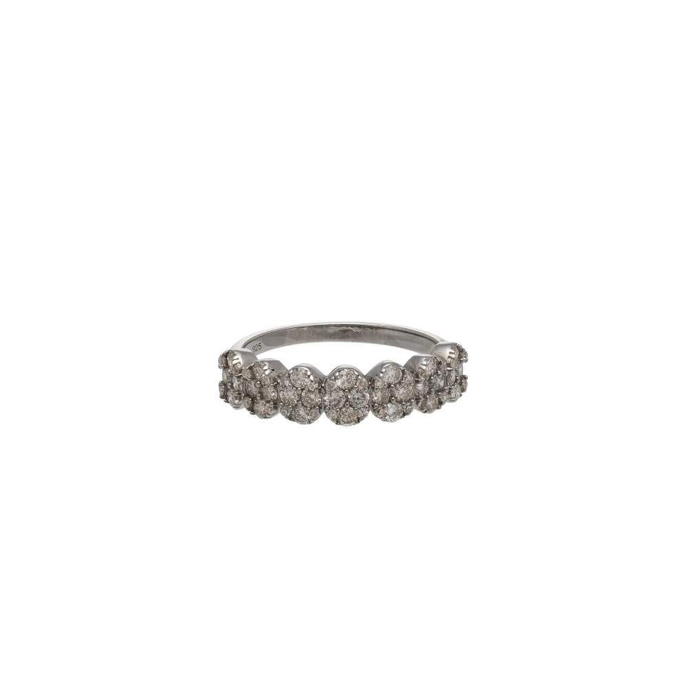 Diamond Oval Ring Sterling Silver