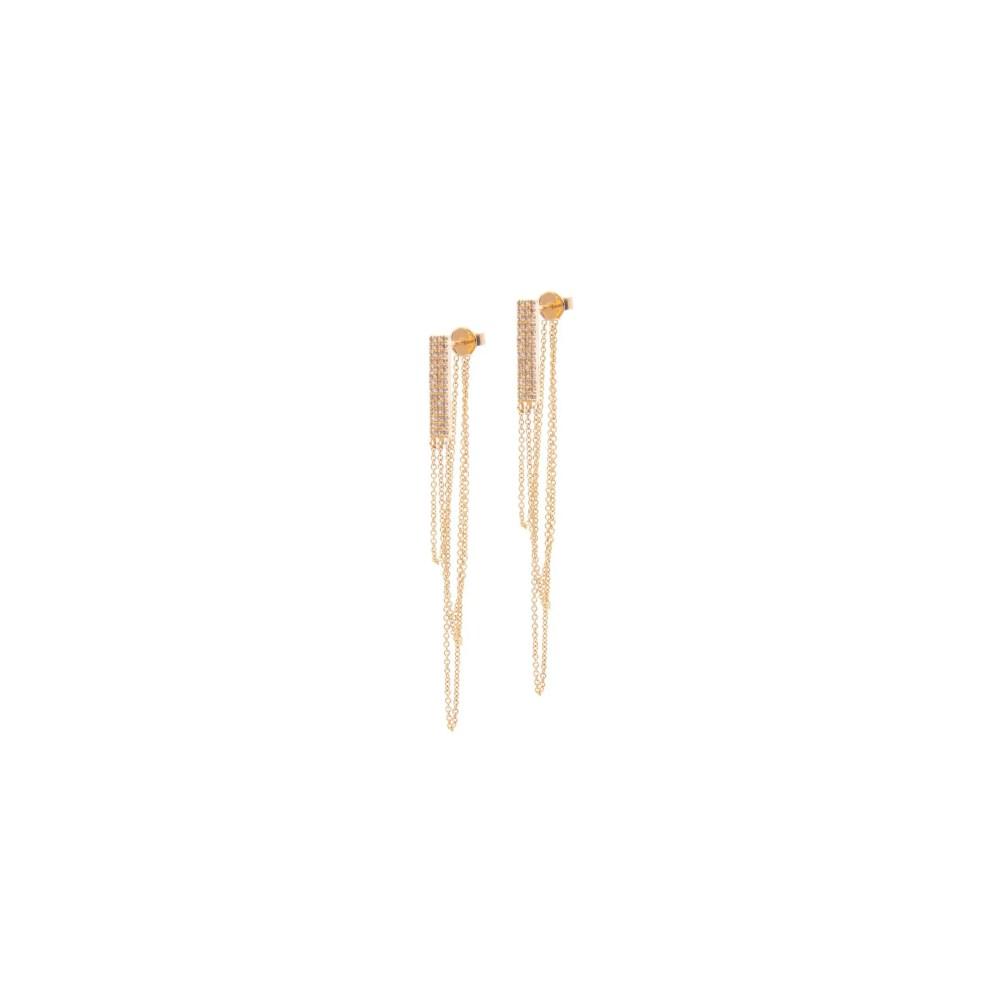 Diamond Rectangle Multi-Chain Earrings Yellow Gold