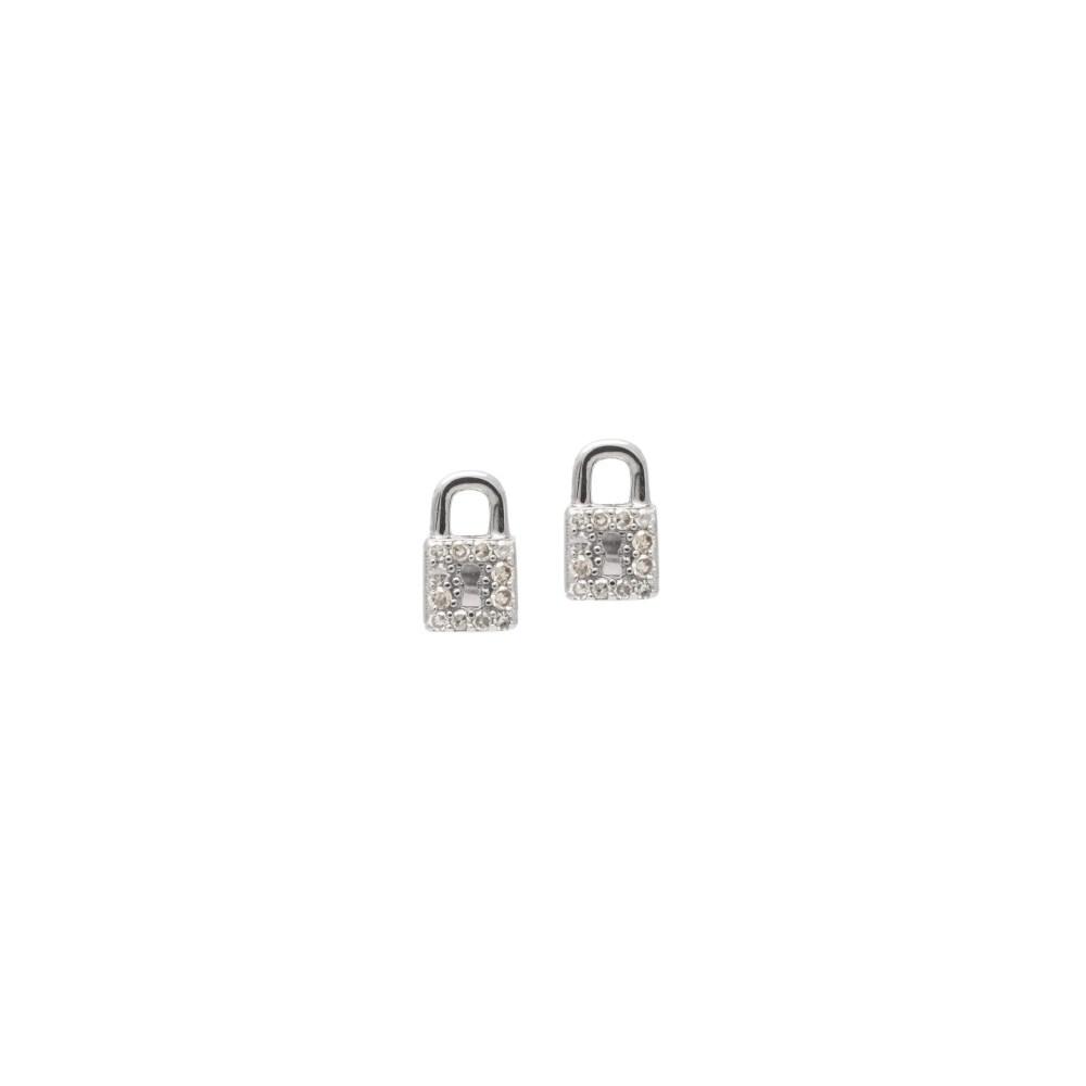 Mini Diamond Lock Earrings Sterling Silver