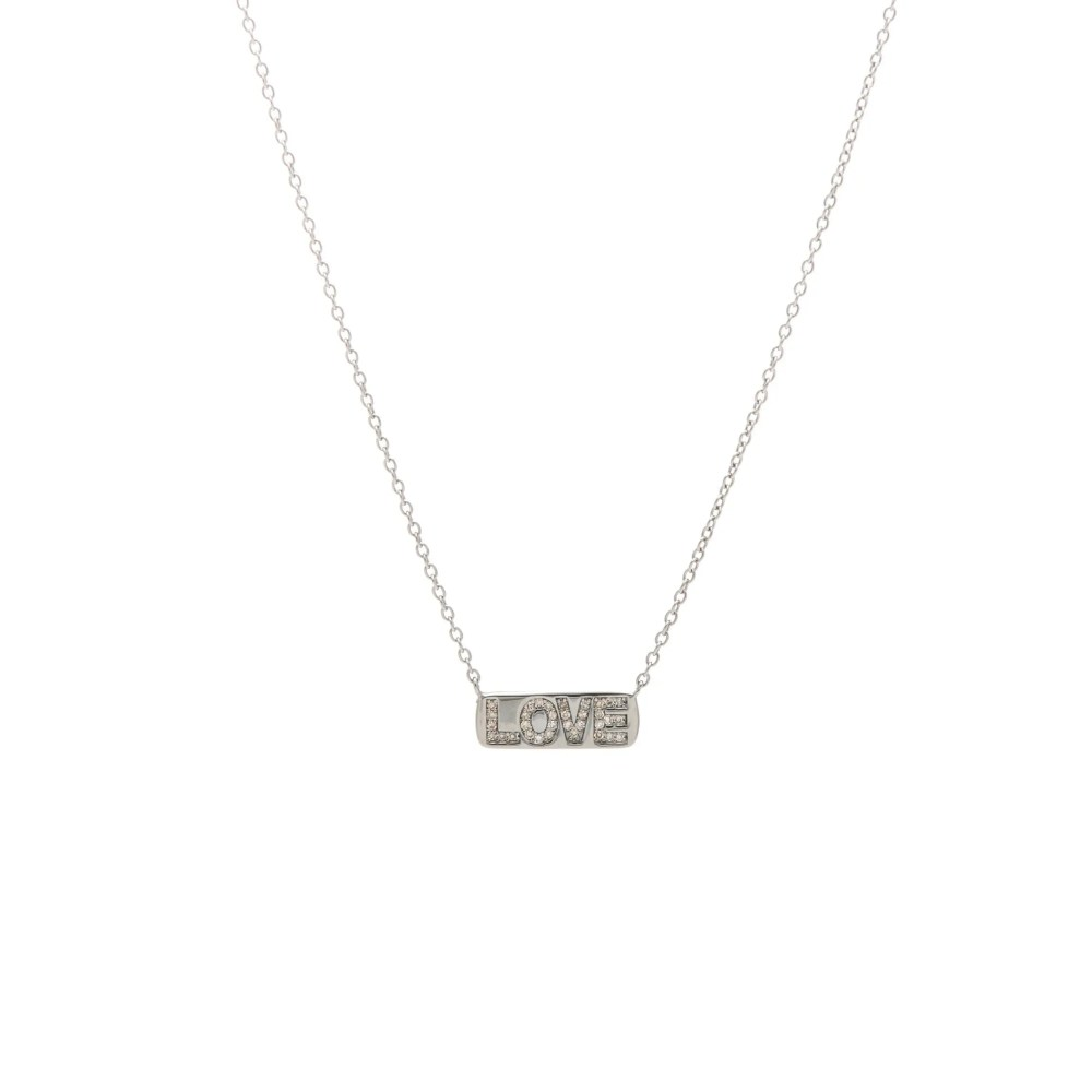 Mini LOVE Nameplate Necklace Rhodium Sterling Silver