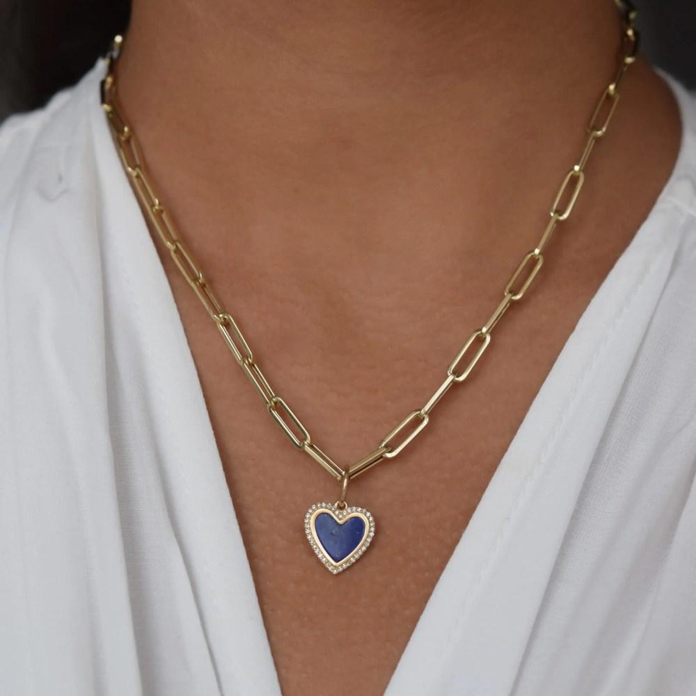Small Diamond Lapis Heart Charm