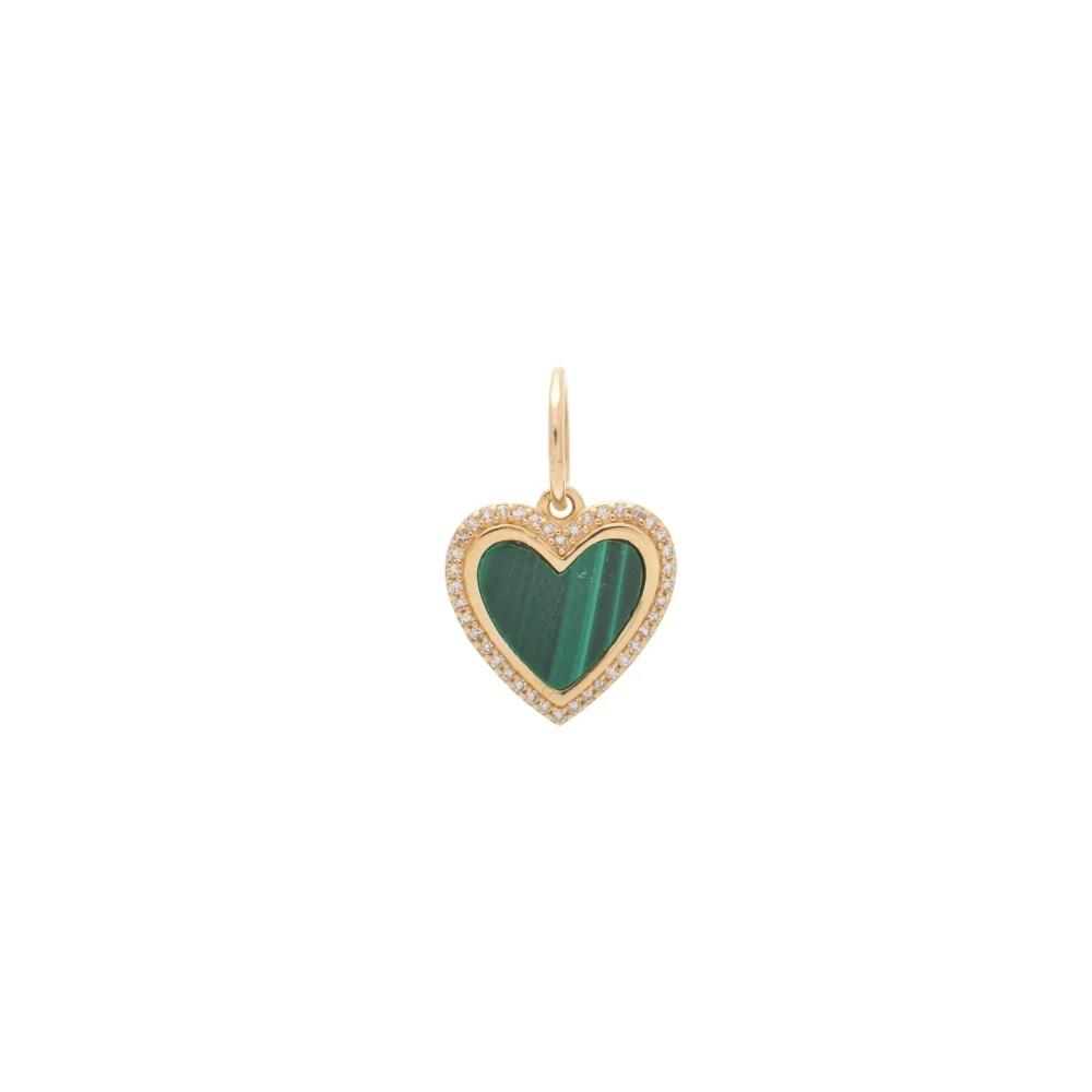 Small Diamond Malachite Heart Charm Yellow Gold