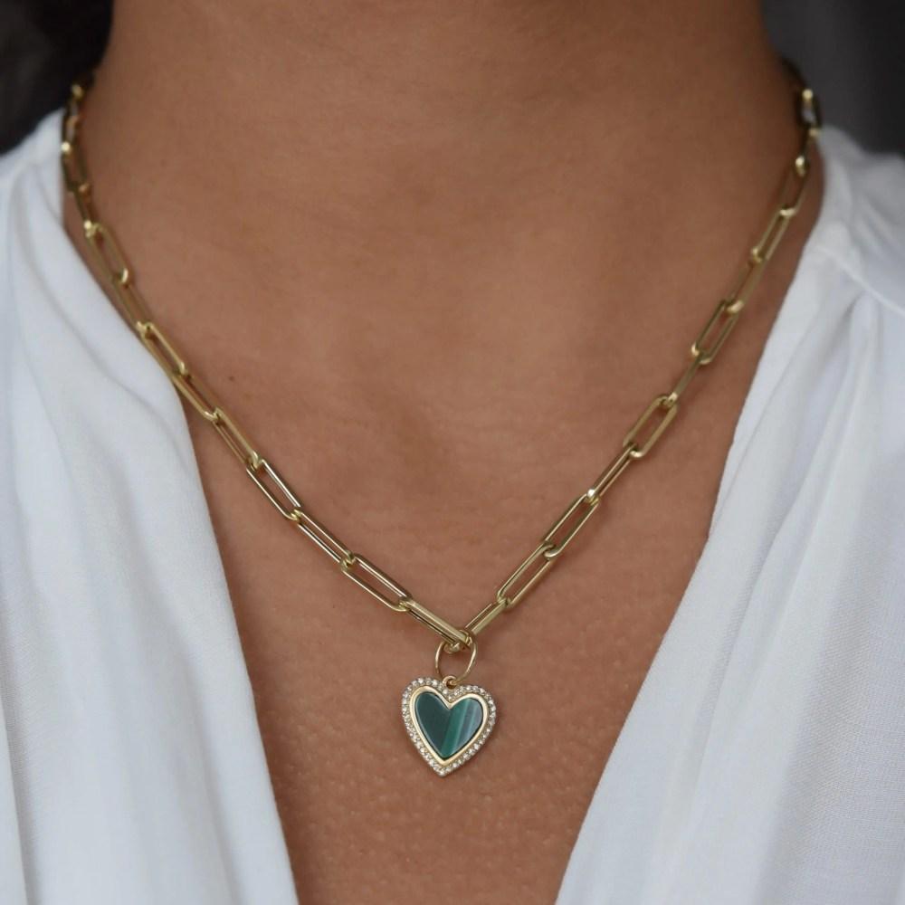 Small Diamond Malachite Heart Charm
