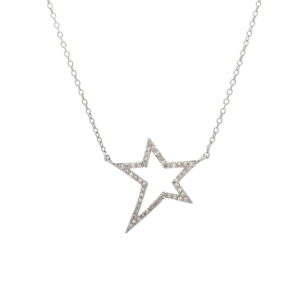Small Diamond Star Statement Necklace Sterling Silver