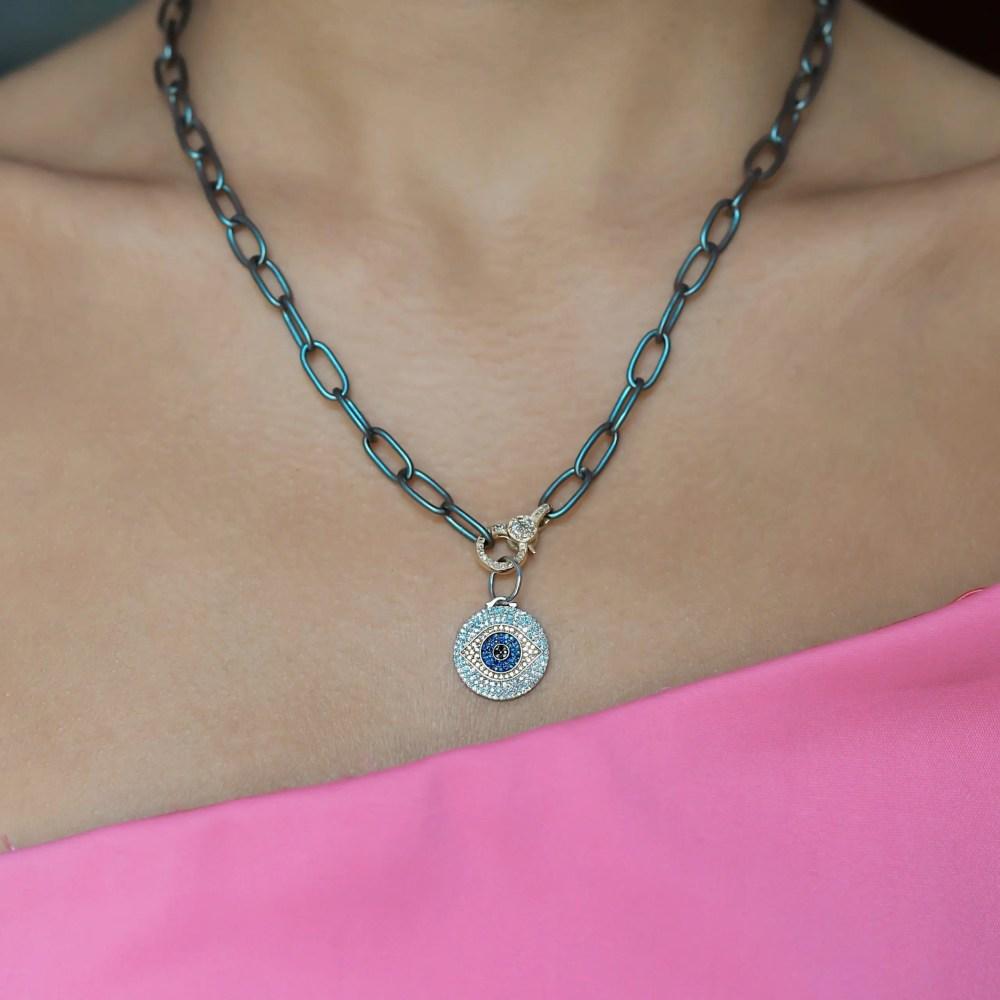 White + Black Diamond with Sapphires Evil Eye Charm
