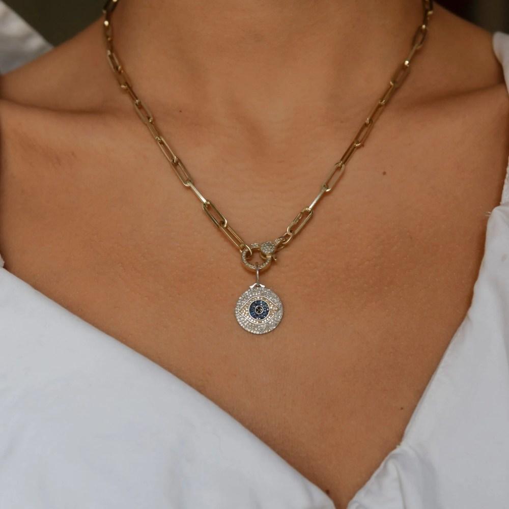 White Black Diamond with Sapphires Evil Eye Charm