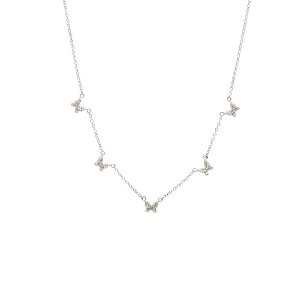 Diamond 5 Butterfly Necklace Sterling Silver