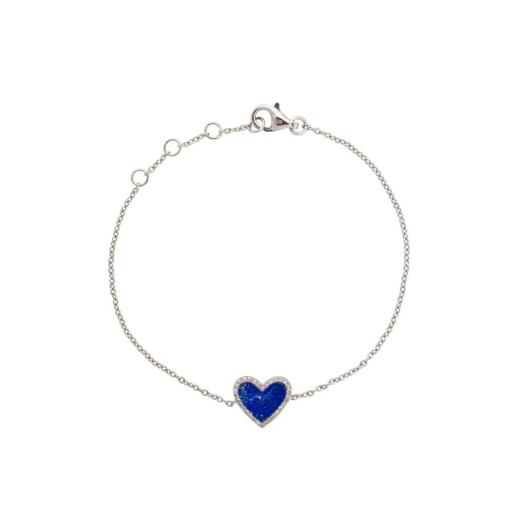 Diamond Mini Lapis Heart Bracelet Sterling Silver