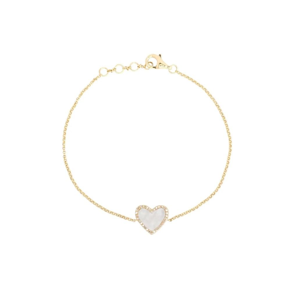 Diamond Mini Mother of Pearl Heart Bracelet 14k Yellow Gold