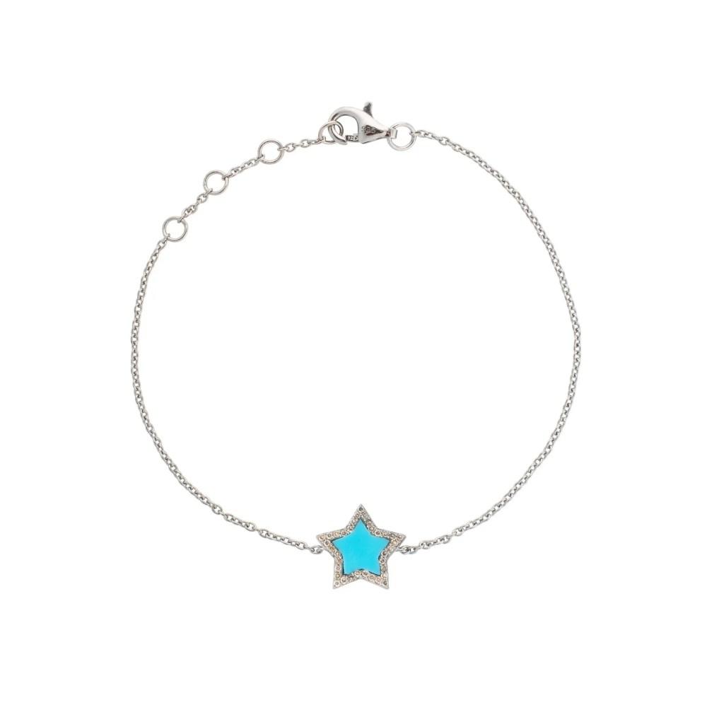 Diamond Mini Turquoise Enamel Star Bracelet Sterling Silver