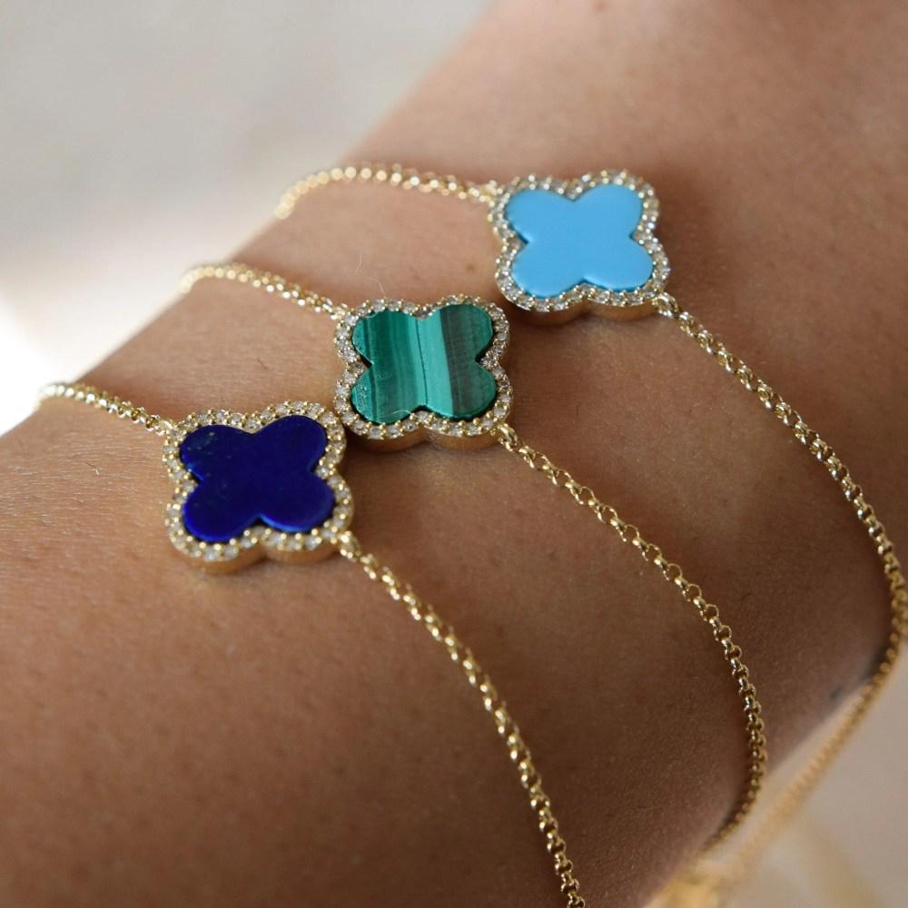 Diamond Mini Lapis Clover Bracelet