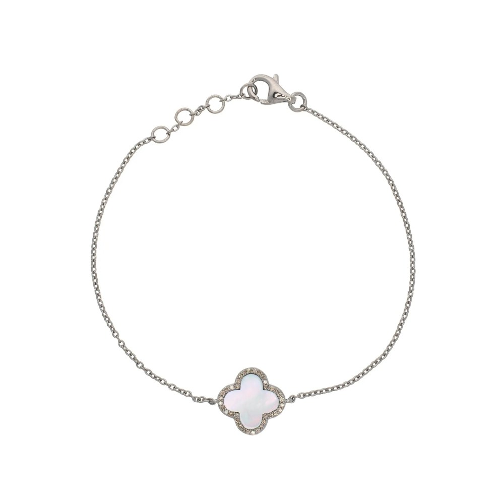 Diamond Mini Mother of Pearl Clover Bracelet Sterling Silver