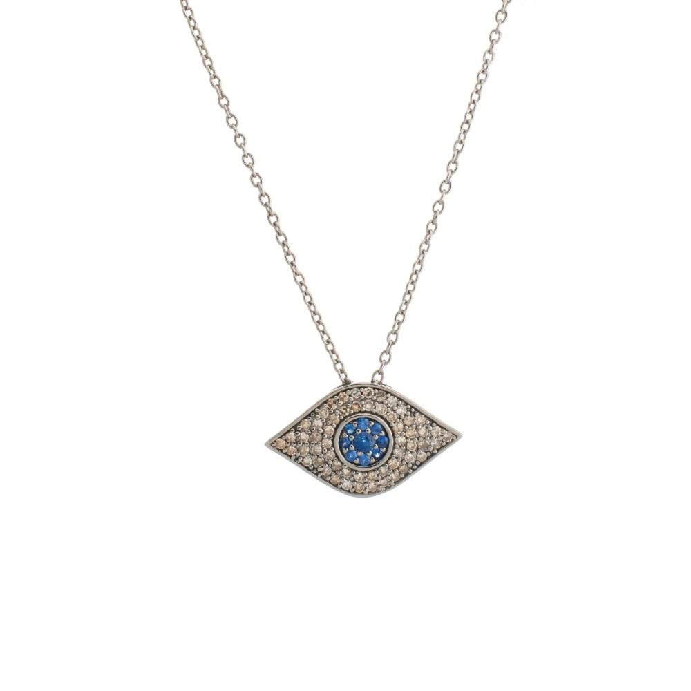 Diamond + Sapphire Evil Eye Necklace Sterling Silver