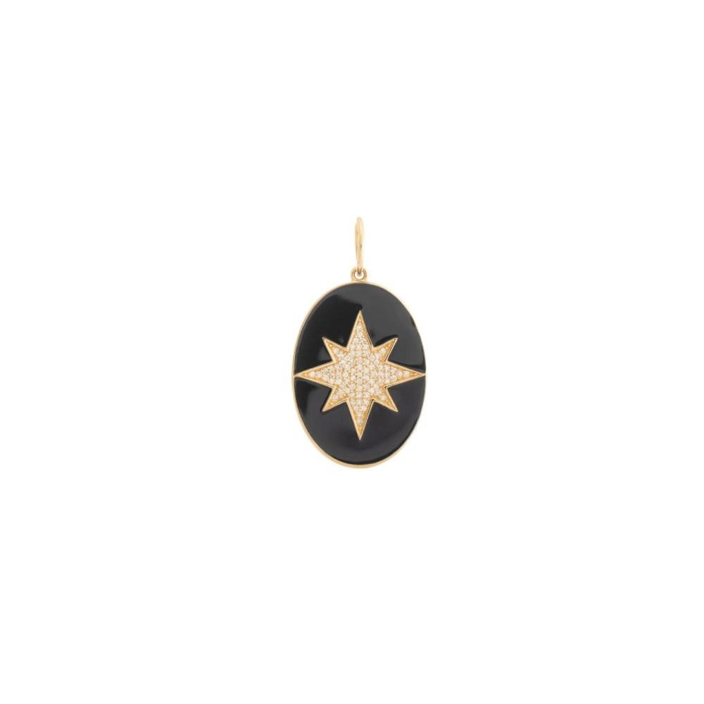 Diamond Starburst + Black Enamel Oval Pendant Yellow Gold