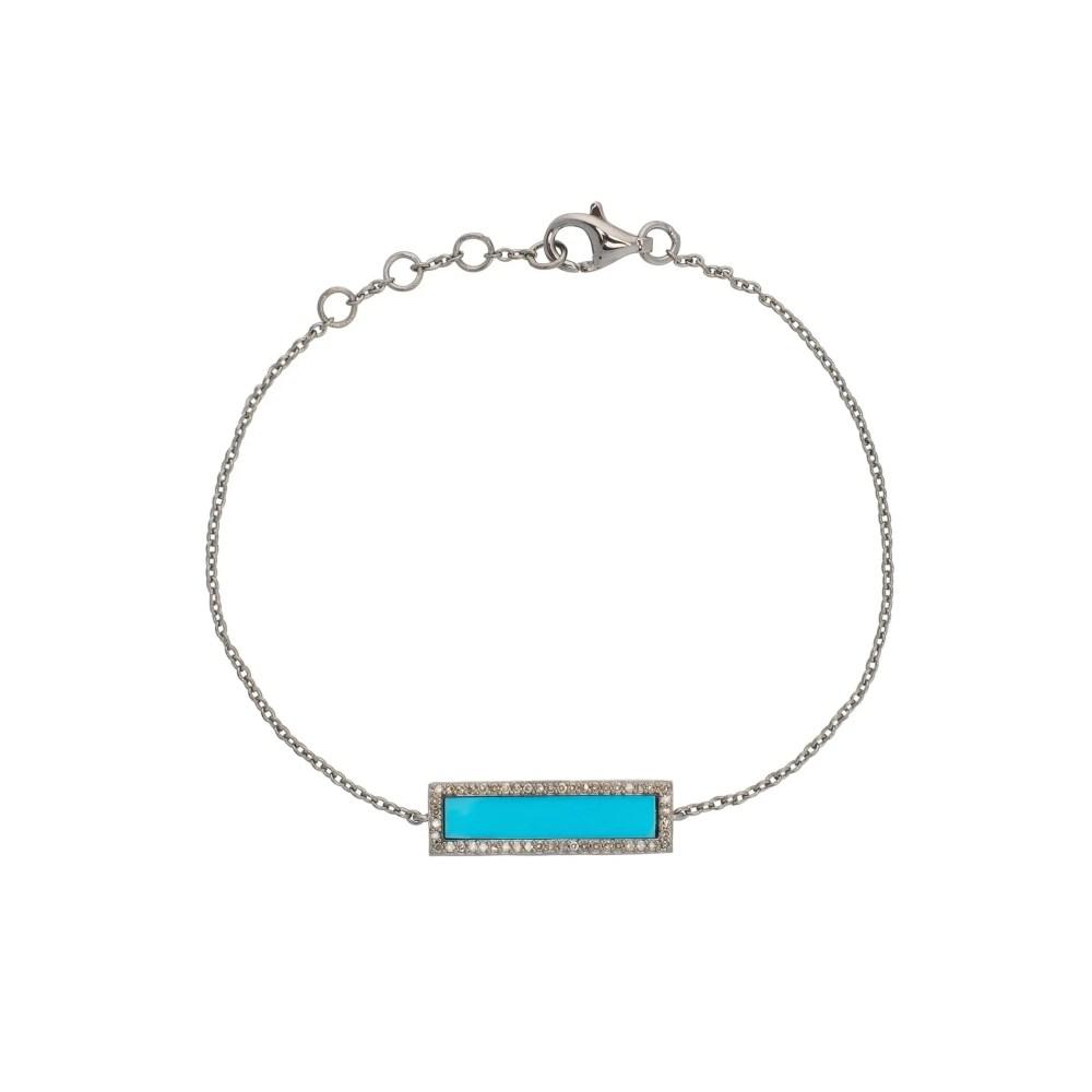 Diamond Turquoise ID Bracelet Silver
