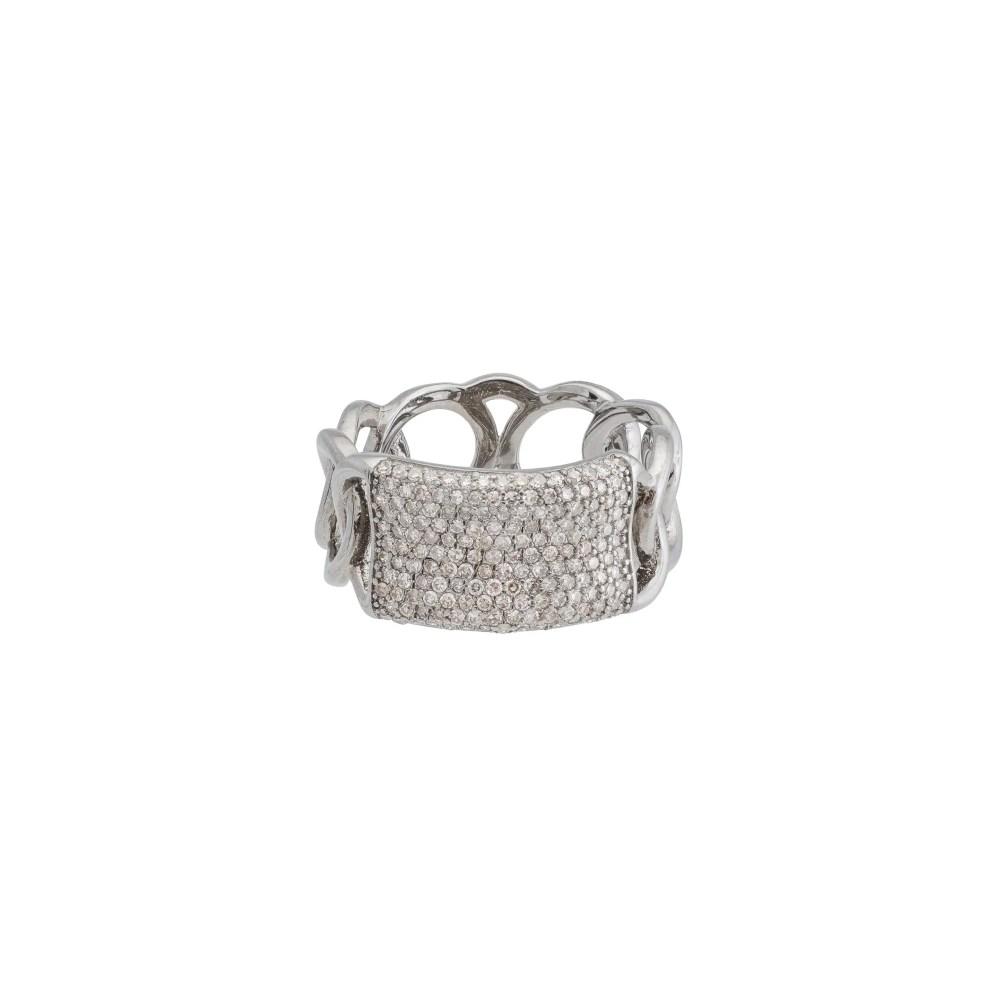 Diamond Wide ID Band Silver