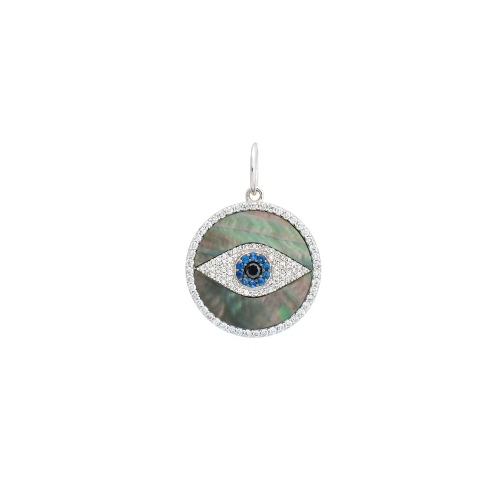 Onyx Mother of Pearl Evil Eye Disc Charm White Gold