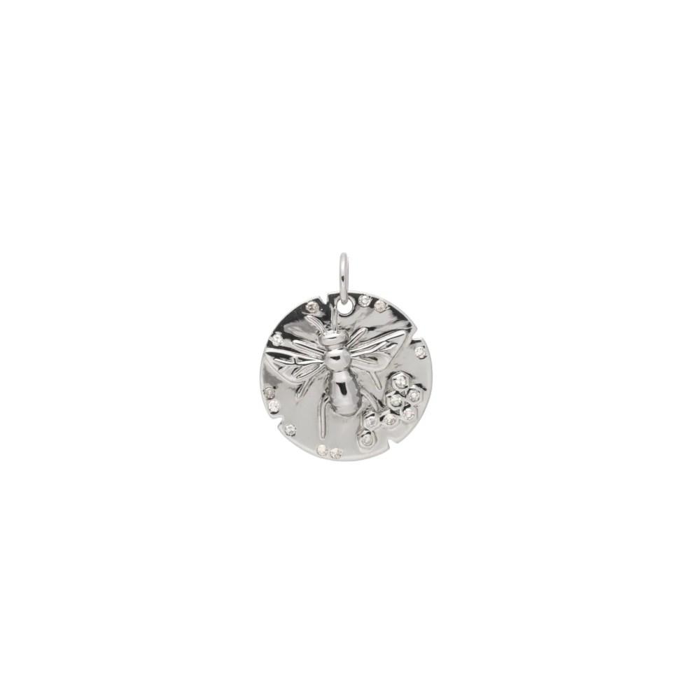 Bee Disc Charm with Diamonds