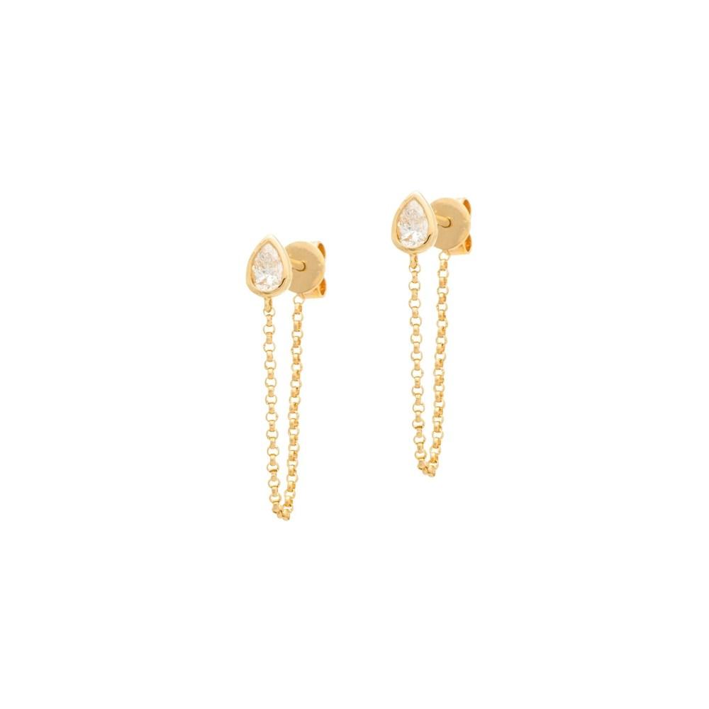 Bezel Pear Chain Earring Yellow Gold