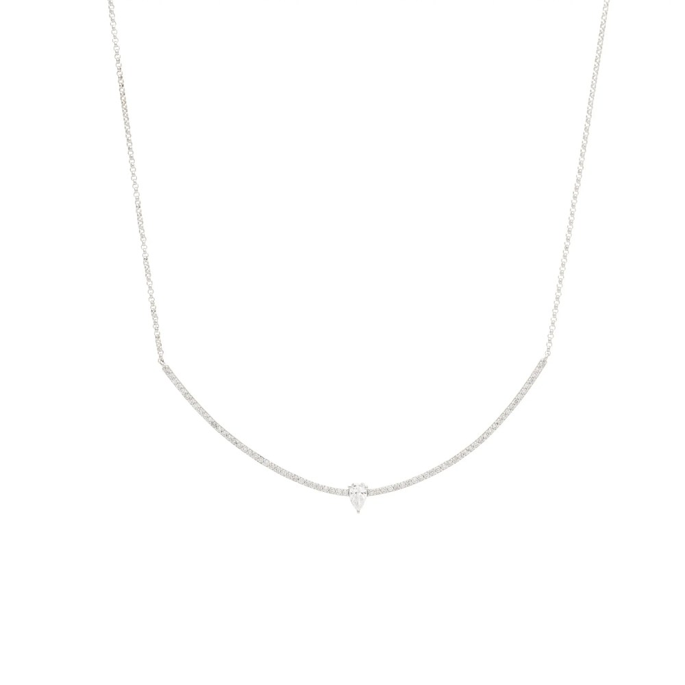 Diamond Curved Bar + Diamond Pear Solitaire Necklace White Gold