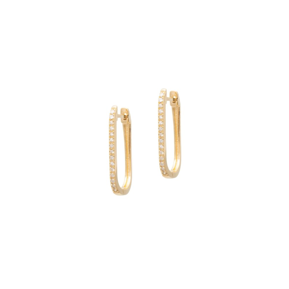 Diamond Link Hoop Earrings Yellow Gold