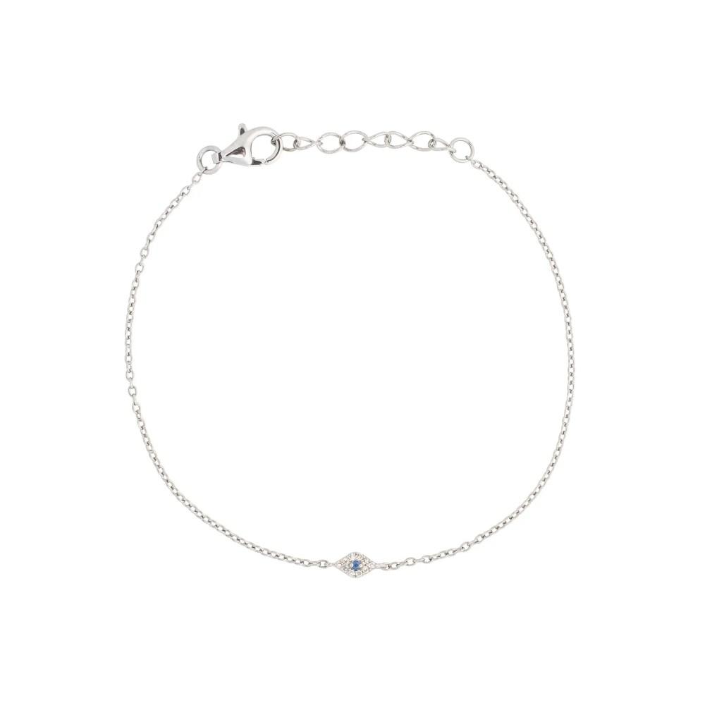 Diamond Mini Evil Eye Bracelet Sterling Silver