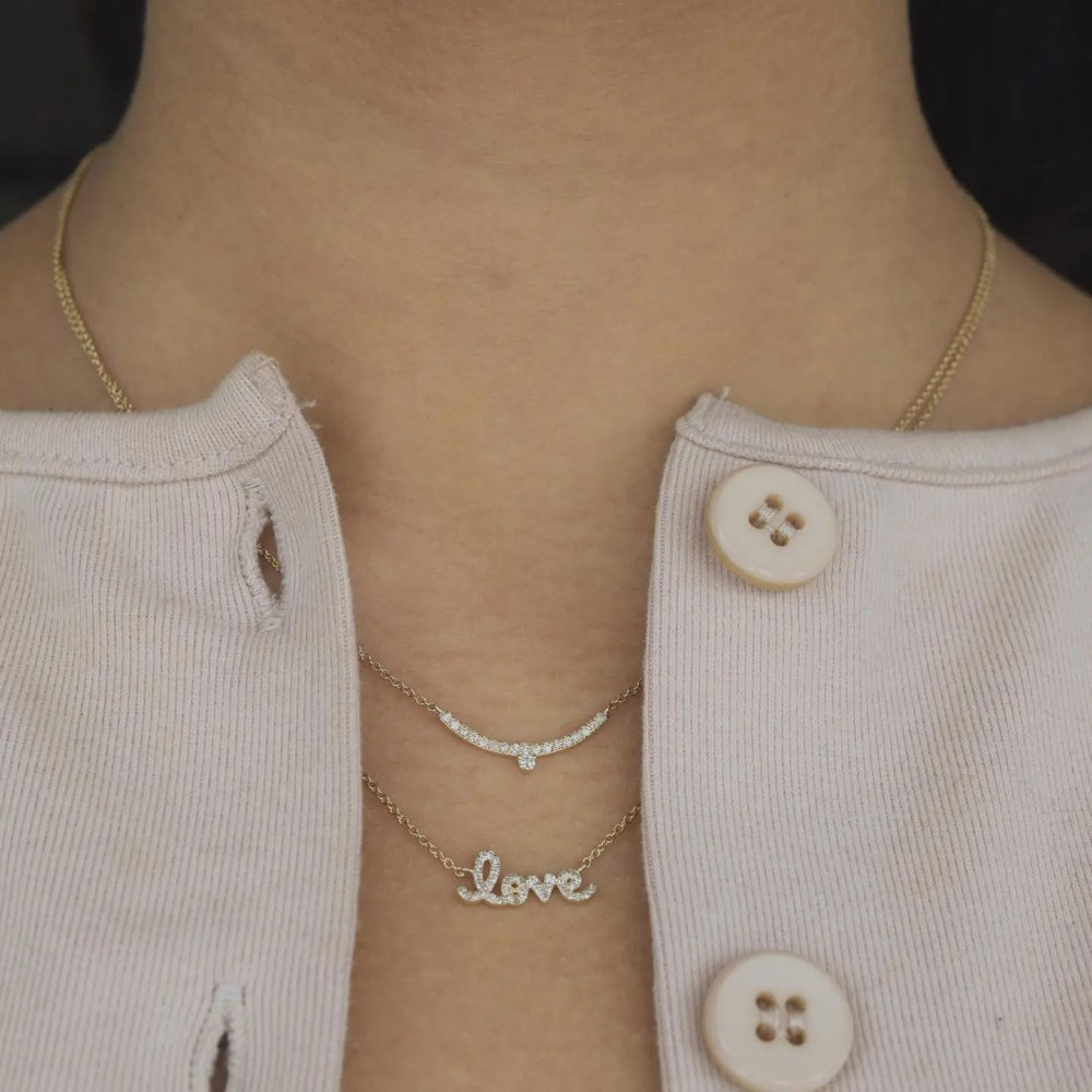 Diamond Mini Love Script Necklace