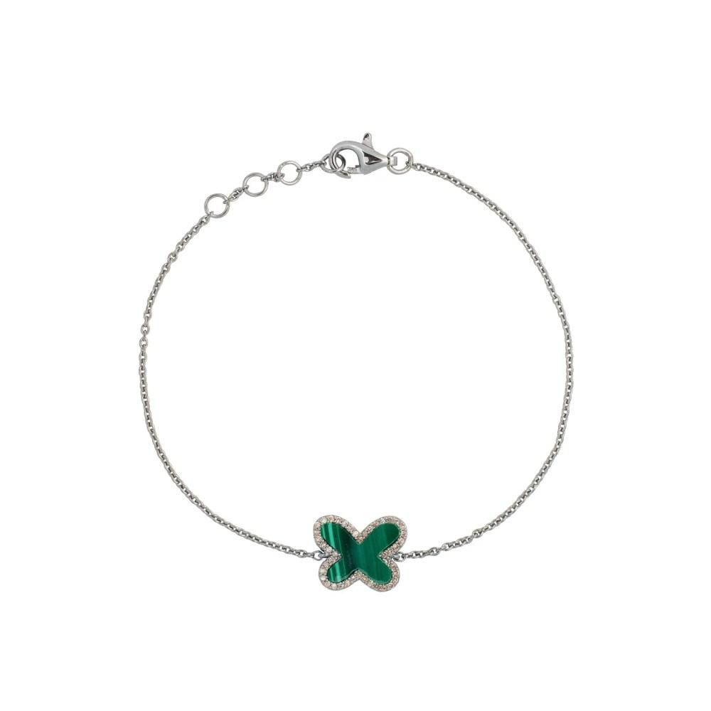 Diamond Mini Malachite Butterfly Bracelet Sterling Silver
