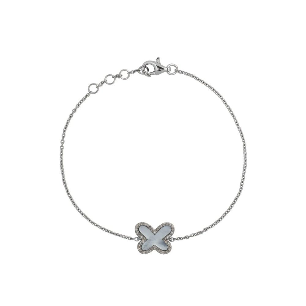 Diamond Mini Mother of Pearl Butterfly Bracelet Sterling Silver