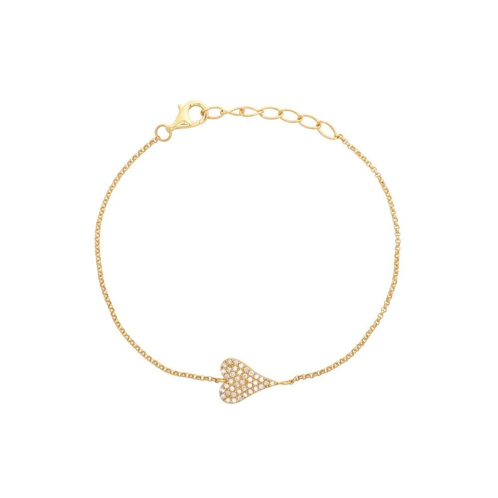 Diamond Modern Heart Chain Bracelet Yellow Gold