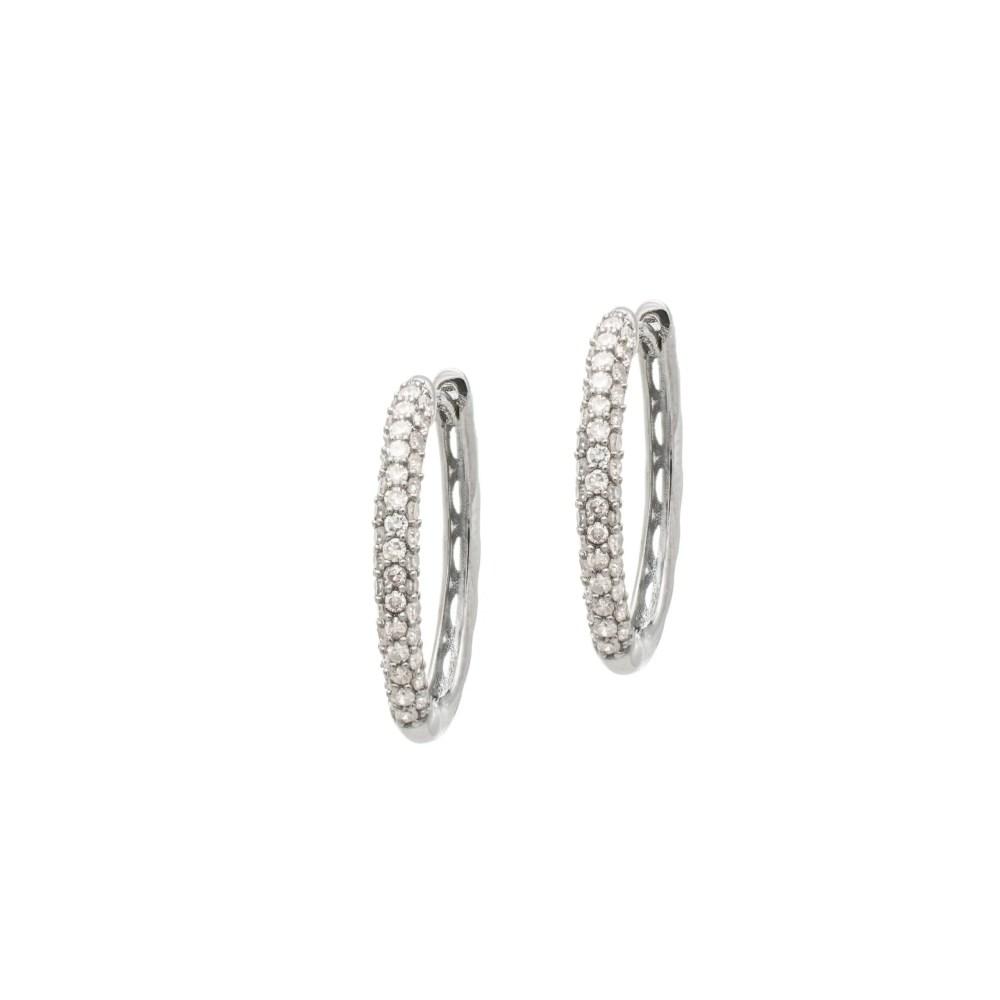 Diamond Oval Pave Hoop Earrings Sterling Silver