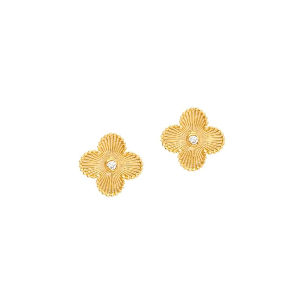 Medium Flower with Diamond Earrings Yellow Gold