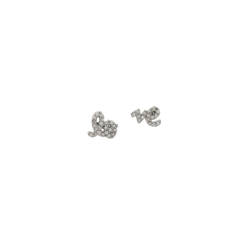 Mini Diamond Love Script Stud Earrings Sterling Silver