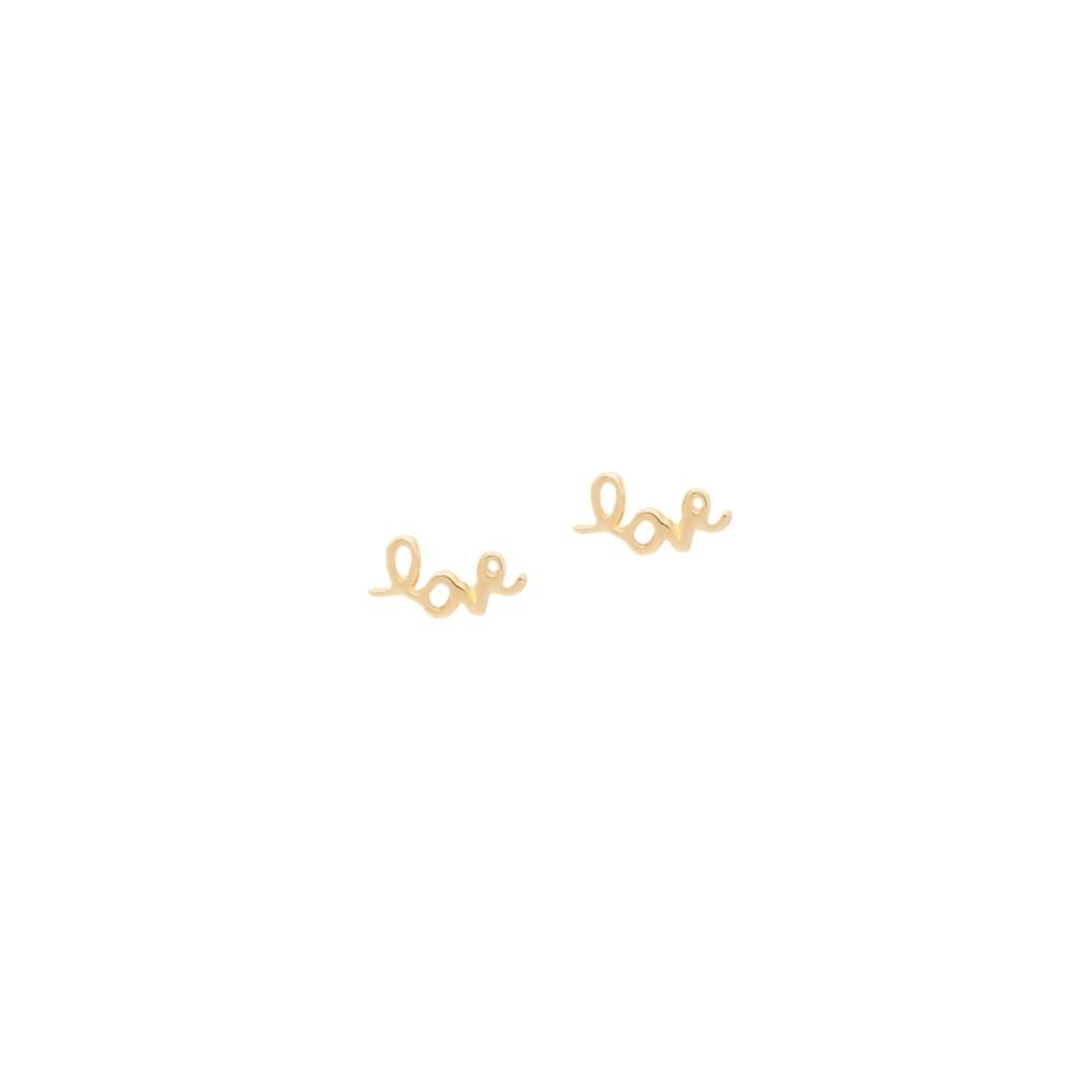 Mini Love Script Stud Earrings Yellow Gold