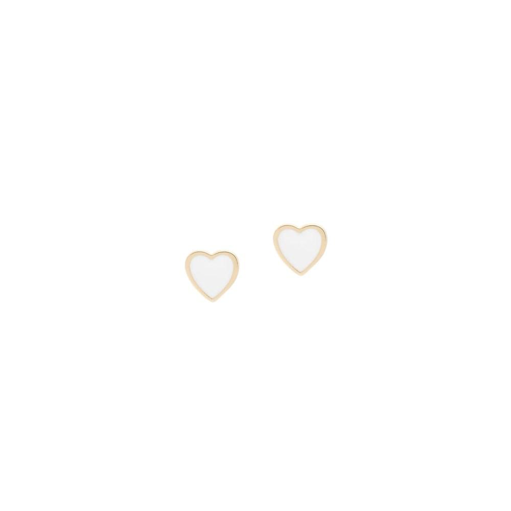 White Enamel Heart Earrings Yellow Gold