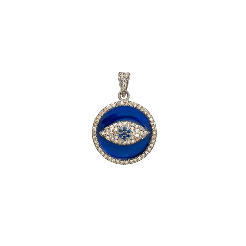 Diamond + Blue Enamel Evil Eye Disc Charm Sterling Silver