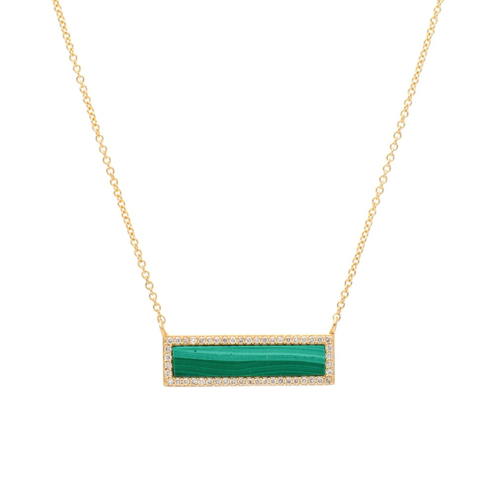 Diamond Malachite ID Necklace Yellow Gold