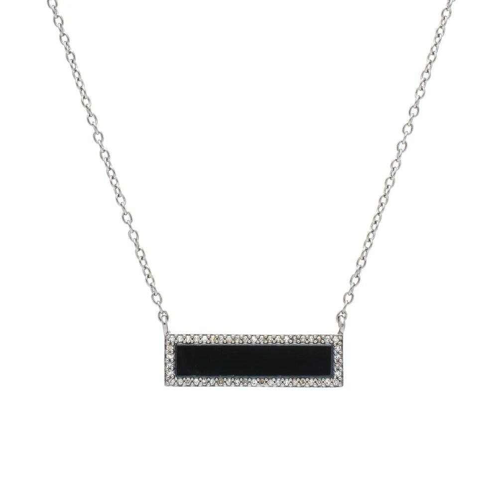 Diamond Onyx ID Necklace Silver
