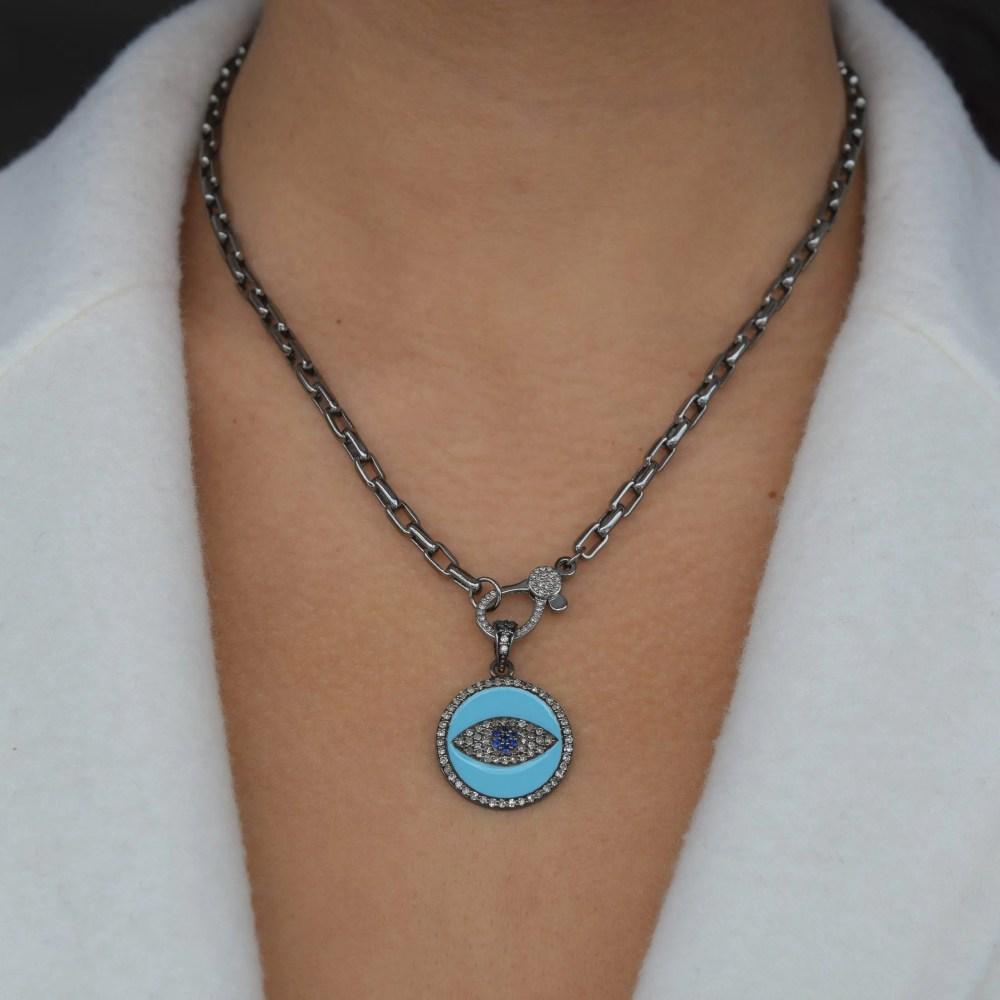 Diamond + Turquoise Enamel Evil Eye Disc Charm
