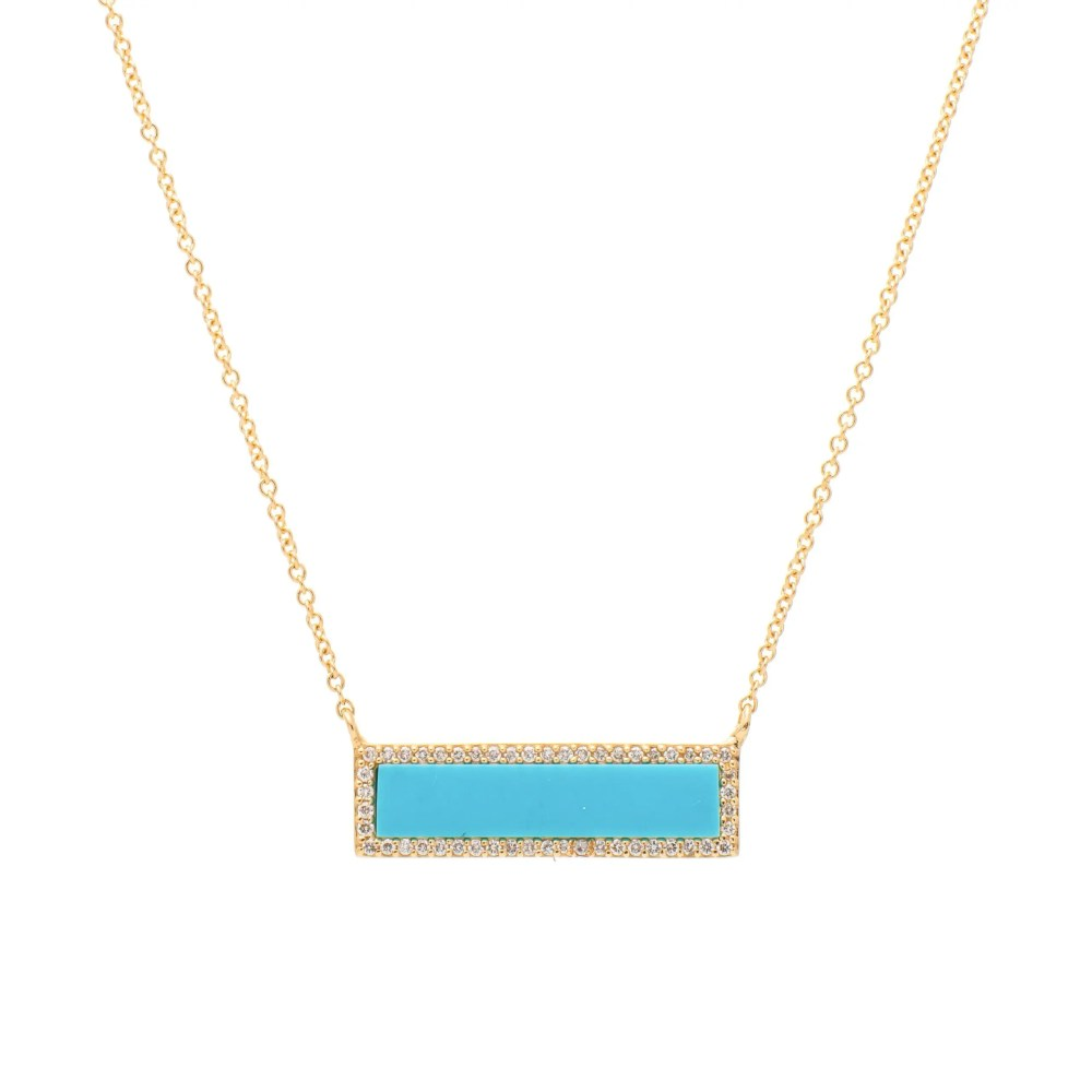 Diamond Turquoise ID Necklace Yellow Gold