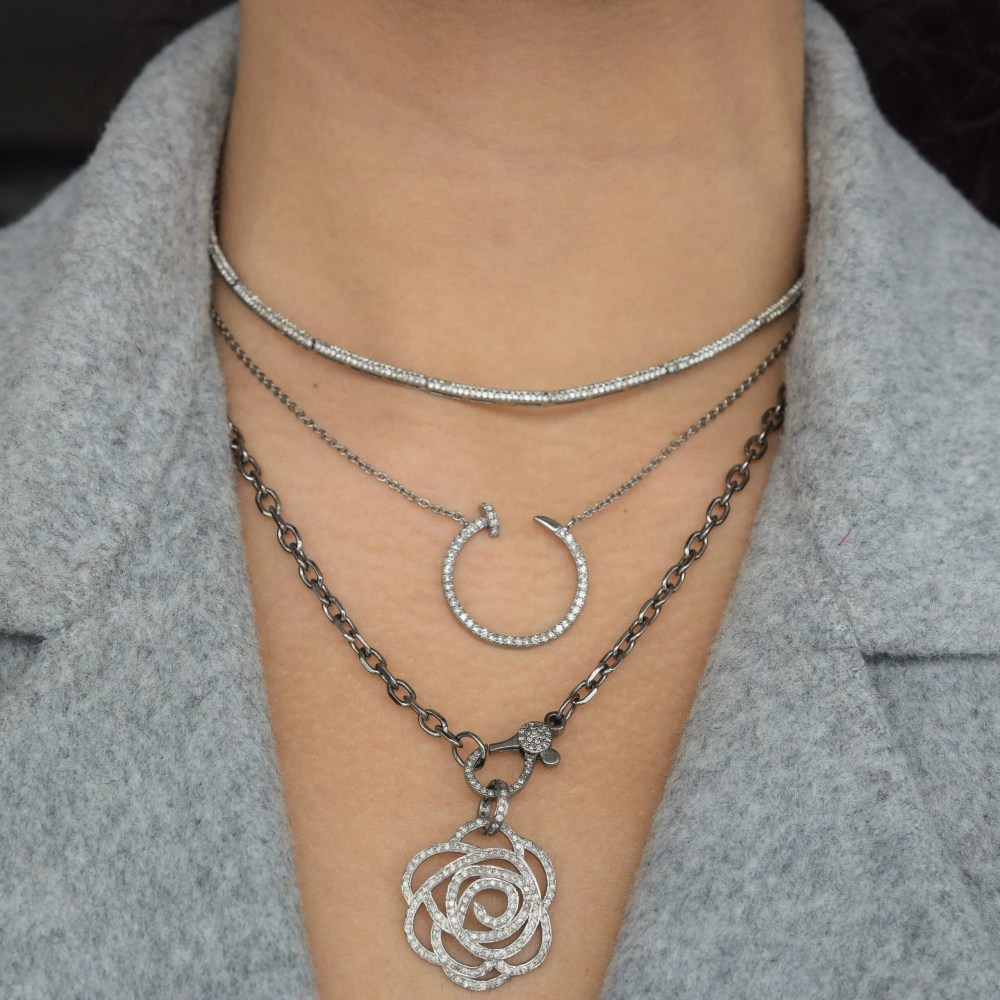 Medium Diamond Rose Pendant