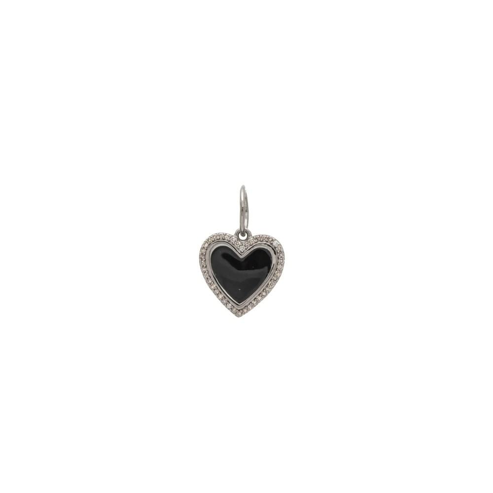 Mini Black Onyx Heart Charm Sterling Silver