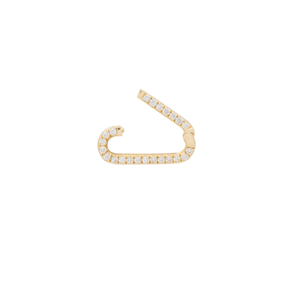 Mini Pave Diamond Gold Link Connector Clasp Yellow Gold Open