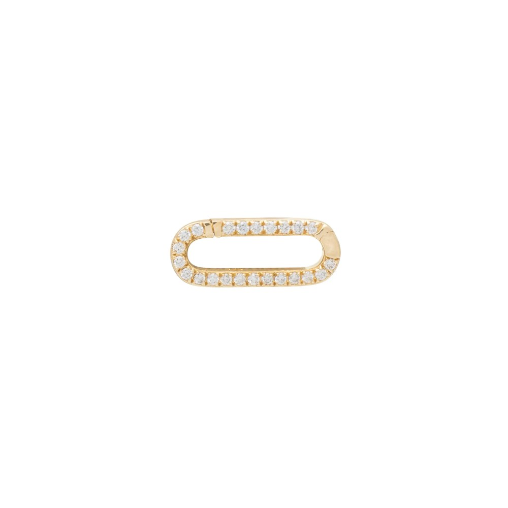 Mini Pave Diamond Gold Link Connector Clasp Yellow Gold