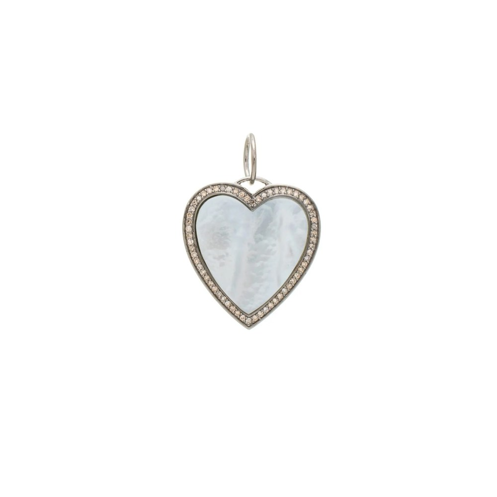 Mother-of-Pearl + Diamond Heart Charm Sterling Silver