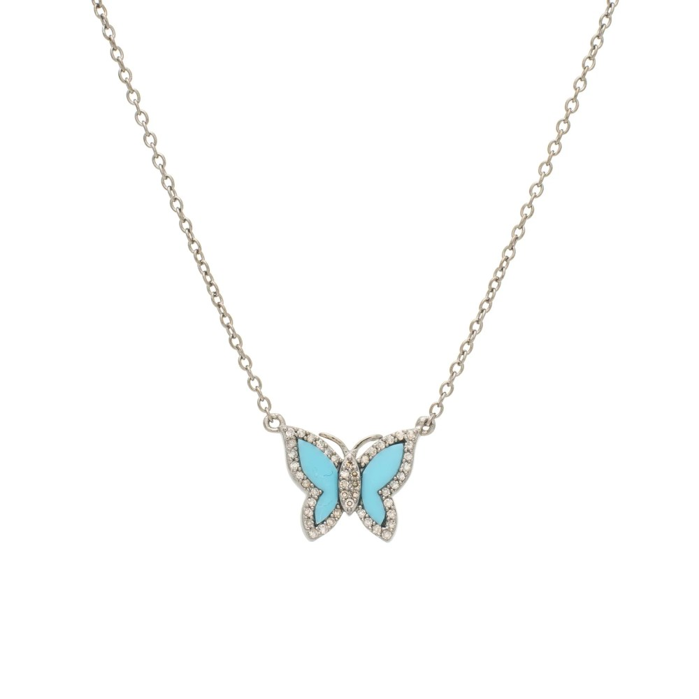 Small Diamond Turquoise Butterfly Necklace Sterling Silver