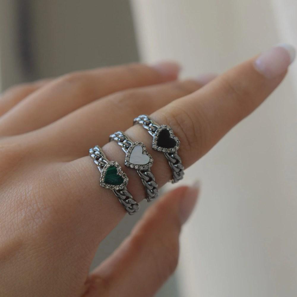 Diamond Heart Curb Chain Hard Link Ring