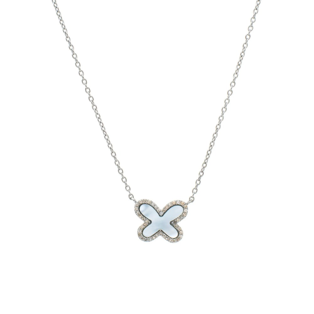 Diamond Mini Mother-of-Pearl Butterfly Necklace Sterling Silver